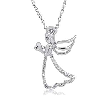 Amazon angel with heart diamond pendant necklace in sterling angel with heart diamond pendant necklace in sterling silver on an 18in chain aloadofball Image collections