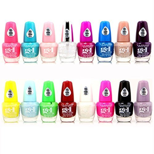 16pc L.A. Colors Extreme Shine Gel Nail Polish No UV Needed, Intense color, Fuss free Set 2 all New 16 Colors (L A Colors Nail Polish Set compare prices)
