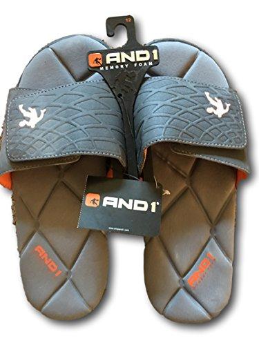 And1 Sandalo Sportivo Da Uomo Baller Slide Con Memory Foam Grigio, Arancione