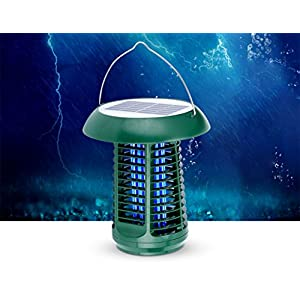 HETAO Insect Killer Lamp,Flying Killer Insect Repellent, Electric Shock Electric Fighting Device Solar Powered Waterproof No Radiation Safety