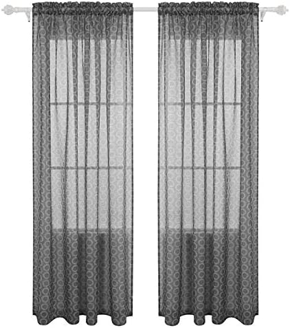 Deconovo Drapes Rod Pocket Window Curtains Circle Printed Sheer for Kids Room, 42×95, Dark Grey