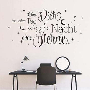 decalmile Wandtattoo Sprüche und Zitate Ohne Dich ist jeder Tag wie eine  Nacht ohne Sterne Wandsticker Schwarz Wandaufkleber Schlafzimmer Wohnzimmer  ...