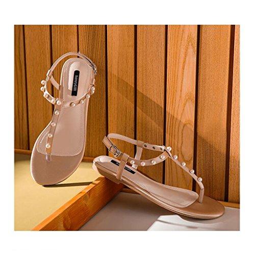 Sandales Pink Casual à des Basses Plate Tongs la de Femmes Plats Cheville Perle Talons Chaussures Sandales Tongs Forme Sandales Mode HvawOq