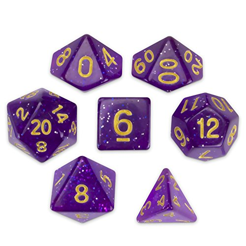 Display Dice (Wiz Dice Midnight Nebula Set of 7 Polyhedral Dice, Translucent Purple, Blue & Silver Glitter Tabletop RPG Dice with Clear Display Box)