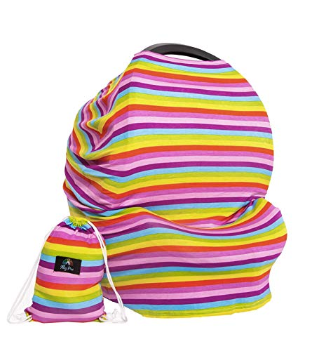 Premium Breastfeeding Cover, 5-in-1 Rainbow Nursing Cover & Car Seat Canopy, Breathable Breastfeeding Cover Ups, Ideal as Stroller Cover & Nursing Scarf, Perfect Baby Shower Gift by Illy Pro