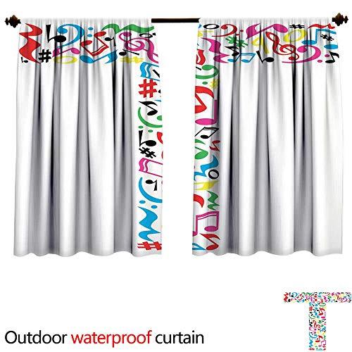 BlountDecor Letter Tshade Curtain Outdoor W55 x L72(140cm x 183cm) Uppercase T Letter Colorful Sheet Music Elements Font Alphabet Design Art StyleAnti-waterMulticolor