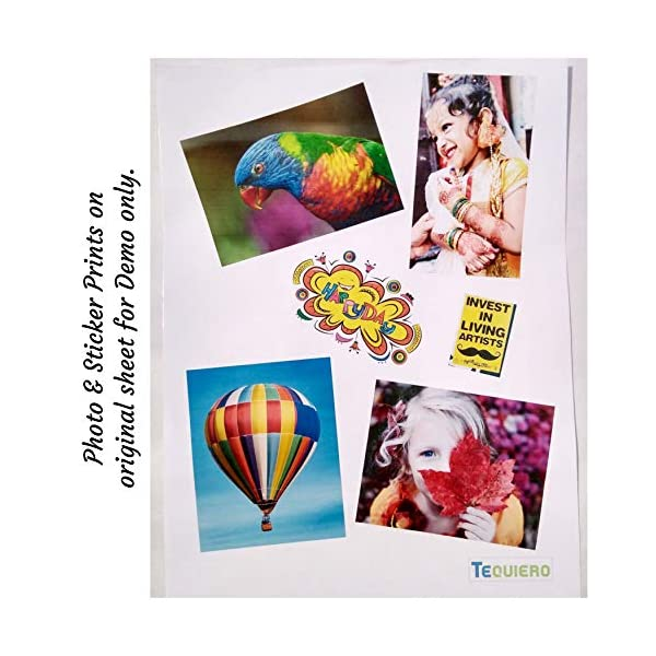 TeQuiero 30 Glossy Inkjet Sticker Paper a4 Size Self Adhesive Photo Sheets 110 GSM - 30 Sheets