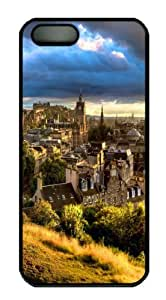 For HTC One M8 Phone Case Cover -Scottish Town At Dawn PC For HTC One M8 Phone Case Cover Black