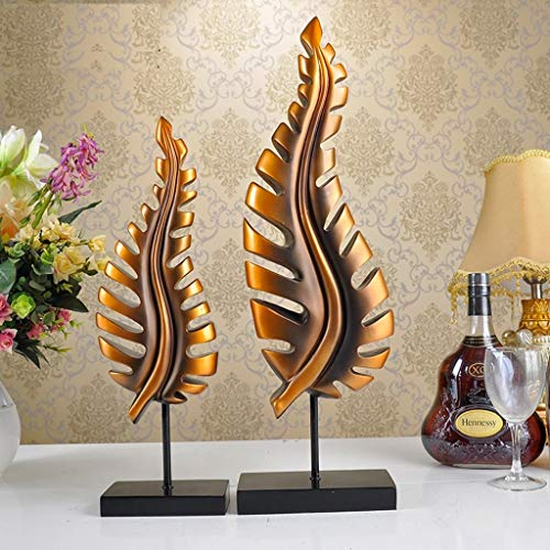 Decoration Leaf Ornaments, (Set of 2) Creative Resin Carving Decoration Living Room Bedroom Crafts Decoration Decoration (Color : Antique Copper)
