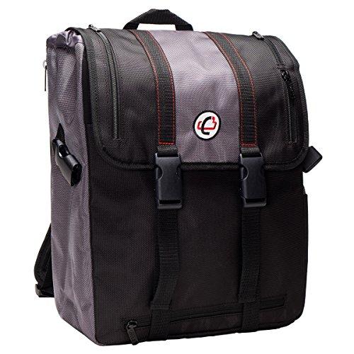 Case-it Case-It BKP-102 Laptop Backpack with Hide-Away Binder Holder, Fits 13-Inch Laptops, Black/Grey (BKP-102 BLKG)