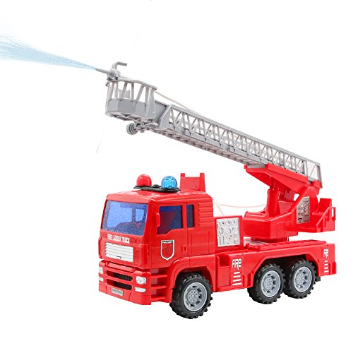 Yoptote Fire Truck Rescue ladder toy that shoots water.