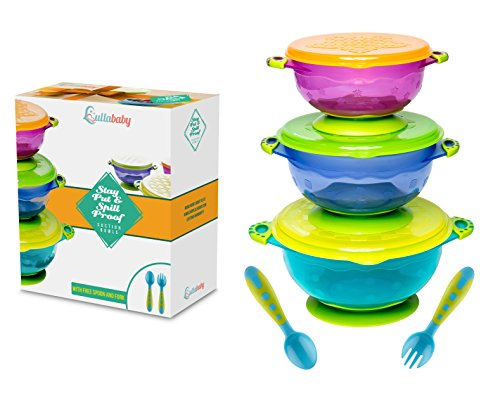 Suction Bowl (STAY PUT SUCTION BABY BOWLS - Suction Toddler Spill Proof Feeding Set | Bonus Spoon and Fork | 3 Sizes of Bowls and Snap Tight Lids | Perfect To Go Storage | FDA Approved BPA Free)