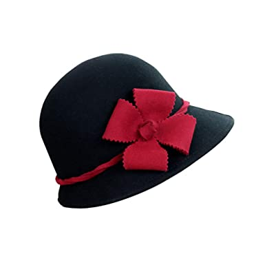 3377b942995 Ladies Wool Cloche Hats Winter Bucket Hat 1920s Vintage Derby Hat ...