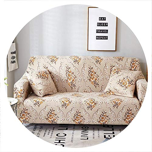 Elegant Modern Sofa Cover Spandex Elastic Polyester Floral 1/2/3/4 Slipcover Chair Living Room Furniture Protector,Model 22,4 Seat (235-300cm)