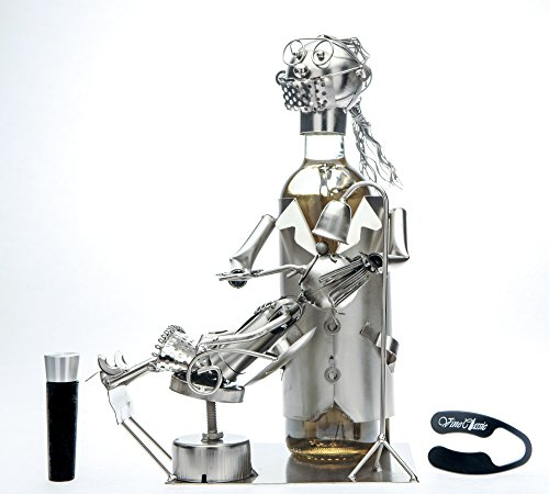 (Upscale Innovations Female Dentist with Patient Wine Bottle Holder, Genuine Hand Made,Metal Figurine with a Wine Foil Cutter and Wine Bottle Stopper)