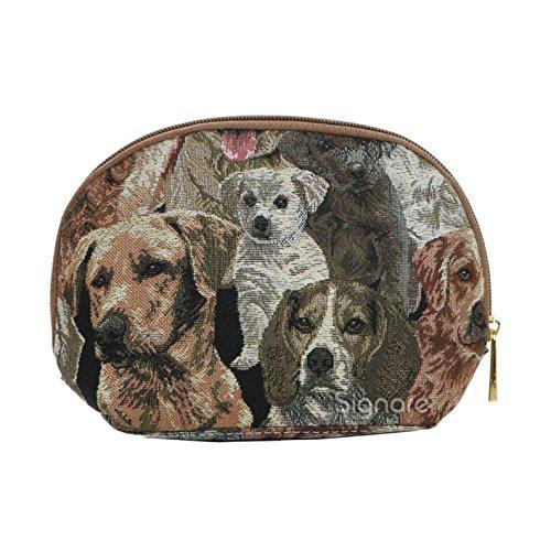 Dog Print Labrador Tapestry Makeup Bag Travel Cosmetic Bag Brush Bag for Women Girls by Signare ()