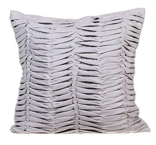 Designer Grey Euro Shams Covers, 26x26 Inch Euro Sham, Textured Pintucks Solid Color Euro Pillow Shams, Square Faux Suede Euro Shams, Solid Contemporary Euro Shams - Grey Wind Folds Suede Euro Sham Cover