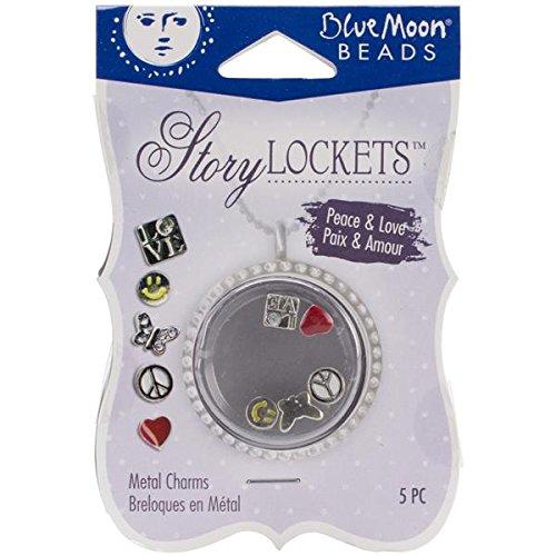 Blue Moon Scrapbooking - Blue Moon Beads SLKCHRM-224 Story Lockets Metal Charm, Peace/Love, Assortment, 5-Pack