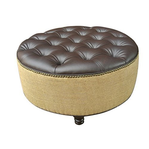 Design 59 inc- Vegan Leather and Burlap Ottoman, 30