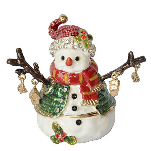 Enamelled Snowman Trinket Jewelry Box for Ring Christmas Decoration Gifts