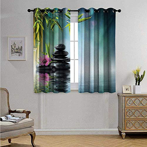 Spa Waterproof Window Curtain Tower Stone and Hibiscus with Bamboo on The Water Blurry Background Blackout Drapes W55 x L39(140cm x 100cm) Petrol Blue Fuchsia Lime Green