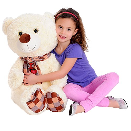 Collapse N' Carry Inflatable AS SEEN ON TV Big 26 Foot Tall Fuzzy Toy Cream White I Love You Teddy Bear