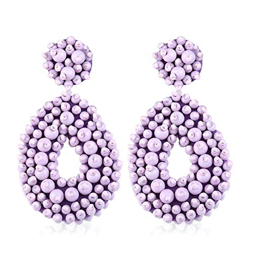 Statement Beaded Hoop Earrings for Women Girls Handmade Bohemian Round Dangle Lightweight Fashion Wedding Studs Ear Jewelry Accessory Present for Bride Bridesmaid with Gushion Gift Box GUE127 Purple