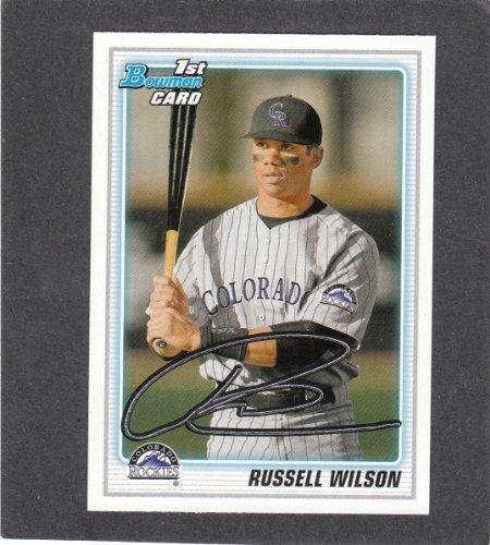 RUSSELL WILSON 2010 Bowman DRAFT Baseball Rookie Card #BDPP47 SP RC SEAHAWKS QB