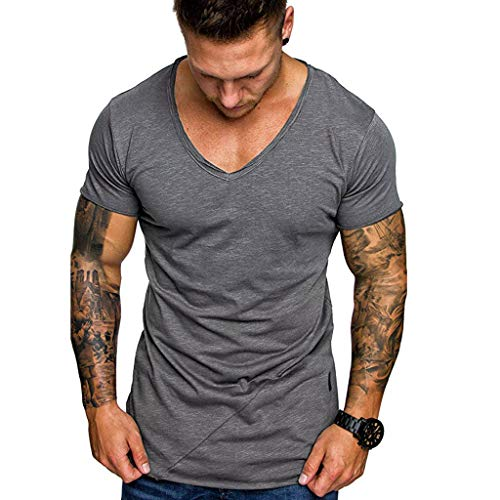 (MILIMIEYIK Blouse Men Tops, Mens Summer Casual Short Sleeve T-Shirt Single Button Placket Plain V Neck)