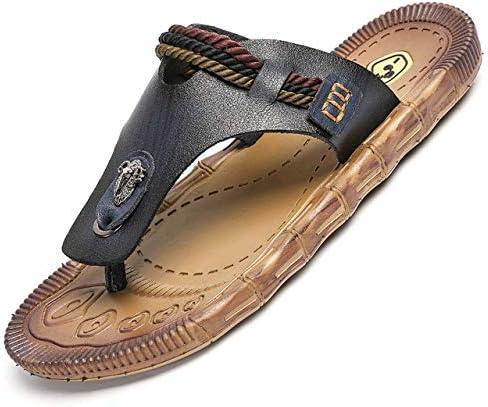 Tuoup Mens Leather Casual Thong Sandles Beach Sandals Flip Flops Black 8.5 M US