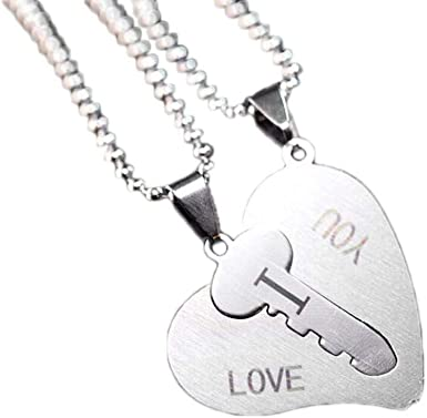 Fashion 2 Piece Dragon and Angel Wing Couple Pendant Necklace Gift Silver Plated