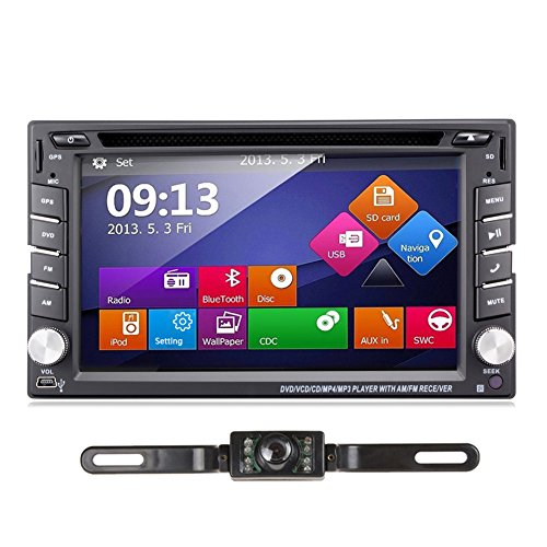 Ehotchpotch 6.2'' Car Stereo Radio Double 2 DIN Navigation Touchscreen Car DVD Player in-Dash Car Audio AM/FM Radio Bluetooth USB SD iPod with Backup Camera
