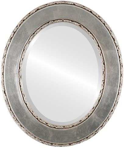 Oval Beveled Wall Mirror for Home Decor – Paris Style – Silver Leaf with Brown Antique – 35×45 outside dimensions