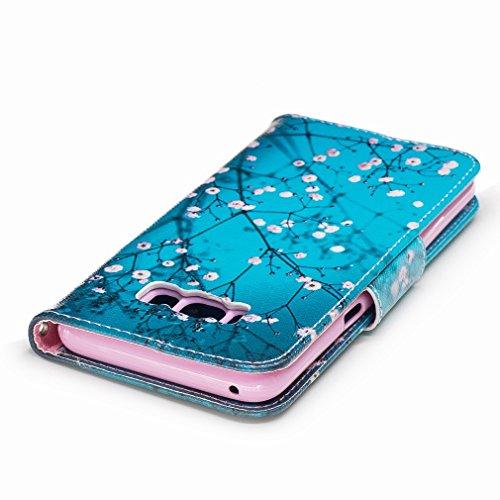Yiizy Samsung Galaxy S8 Custodia Cover, Fiore Plum Design Sottile Flip Portafoglio PU Pelle Cuoio Copertura Shell Case Slot Schede Cavalletto Stile Libro Bumper Protettivo Borsa