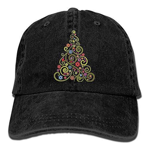 ArtsLifes Men Women Camp Hair Abstract Christmas Tree Cotton Denim Baseball Hat Adjustable Street Rapper Hat]()
