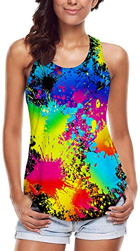 - Leapparel Women's Summer Sleeveless Tank Tops Funny Cute Black Paint Tie Dye 3D Printed Running Racerback Vest Blouse Casual Yoga Shirt L