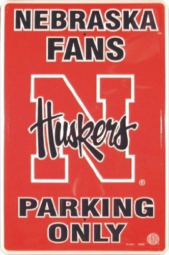 NEBRASKA CORNHUSKERS Metal Parking Sign 12 x 18 embossed