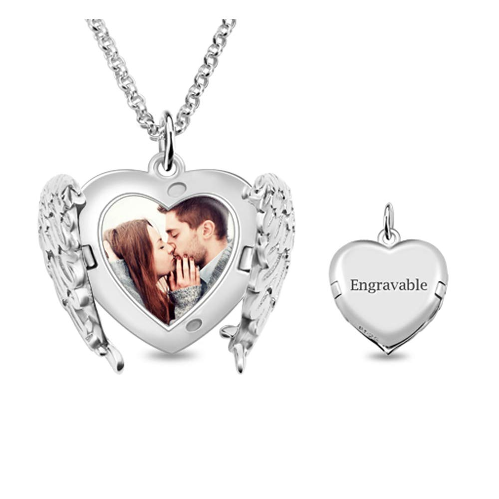 Customized Angel Wings Sterling Silver Heart Picture Locket Necklace for Gift Jack-F Personalized Engraved Photo Necklace