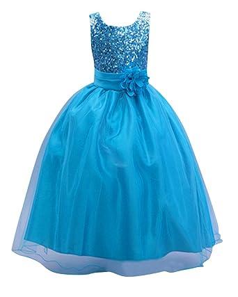 Mädchen Maxi Cocktailkleid Kinder Festkleider Elegante Partykleider  Abendkleider Prinzessin Kleid Blau für 10-12 Jahre 9a48f82ed0