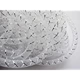 YYCRAFT 15 Yards Solid Mesh Tube Deco Flex for Wreaths Cyberlox Crin Crafts 8mm 3/8-Inch (White)