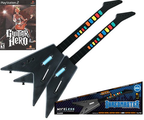 PS2 Guitar Hero + 2 x PS2 Shredmaster Wired / Wireless Rechargeable Guitars (Carbon Fiber / Black)