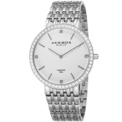 (Akribos XXIV Essential Mens Dress Watch - Matte Dial - Japanese Quartz - Diamond Accented - Stainless Steel Strap - Silver )