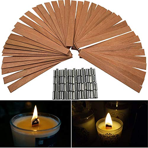 50 PCS 12.5 x 150mm Wood Candle Wicks with Sustainer Tab Supplies Velas Candele Wick for Candle DIY Making for Home Church Deco by Good Home (Image #5)