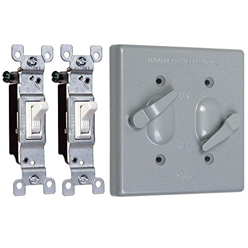 TayMac TC221S Weatherproof Toggle Cover, 2-Gang, Vertical Device Mount, Two Single Pole Switches, Gray