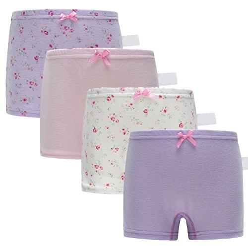 Boxer Girl Boxer - Skhls Baby Girls Multicolor Slips Briefs Panties Kids Boxers Underwear Set,4pack Assorted,3t