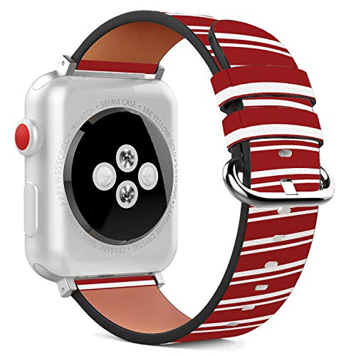 (Compatible with Apple Watch - 42mm Leather Wristband Bracelet with Stainless Steel Clasp and Adapters - Red White Stripes)