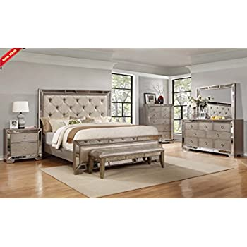 Classic Contemporary Ava Bedroom Collection Silver Bronze Antiqued Mirrored  Finish Eastern King Size Bed 4pc Set