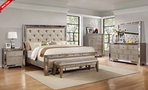 Classic Contemporary Ava Bedroom Collection Silver Bronze Antiqued Mirrored Finish Queen Size Bed 4pc Set Tufted Headboard Dresser Mirror Nightstand Only (Tufted Headboard Bedroom Set)