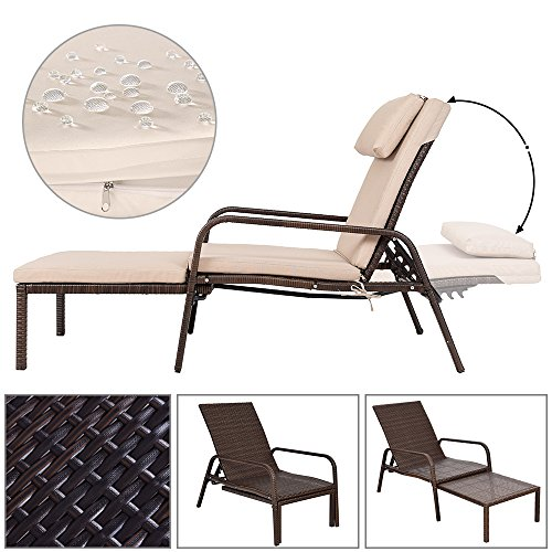 Tangkula Patio Reclining Chaise Lounge Outdoor Beach Pool Yard Porch Wicker Rattan Adjustable Backrest Lounger Chair (Pull Out) by Tangkula (Image #5)