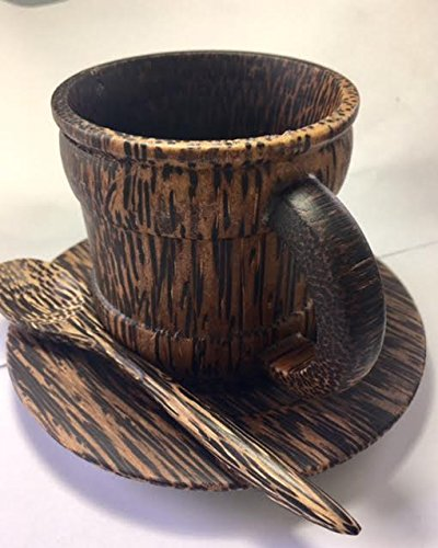 Natural Sugar Palm Wood Coffee Mug ,Handmade Wooden Small Mug Tea Cup, Brown 200 ml (Aussie Flag Dress)